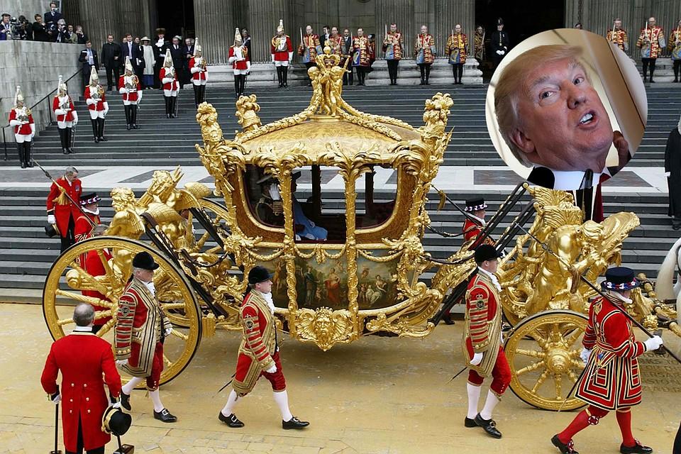 Трамп настаивает напрогулке взолотой карете ЕлизаветыII