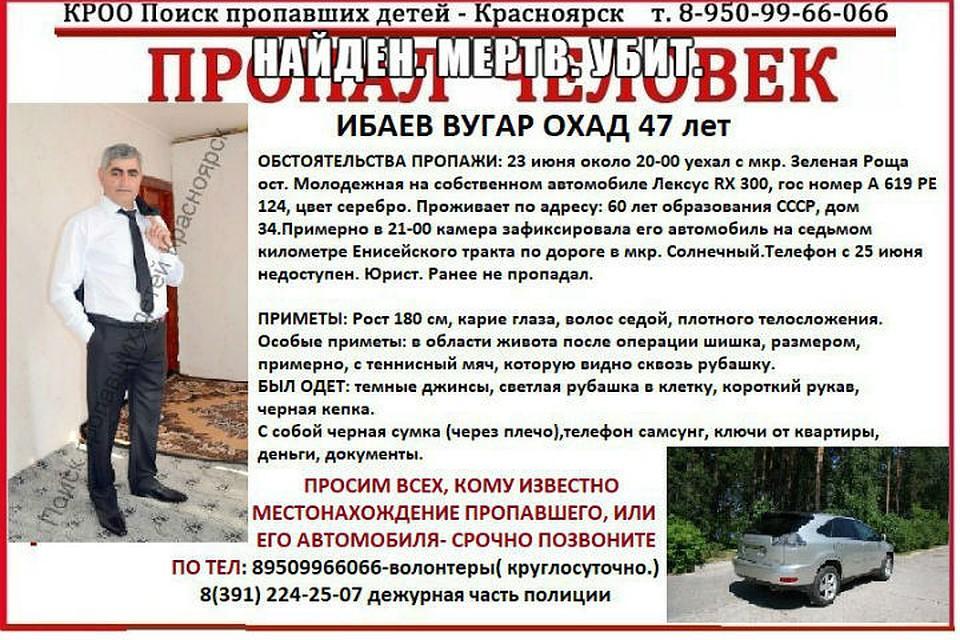 Красноярского юриста надорогой машине отыскали  убитым