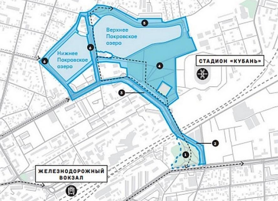 ВКраснодаре обсудили благоустройство набережной Покровских озер ипарка около стадиона «Кубань»
