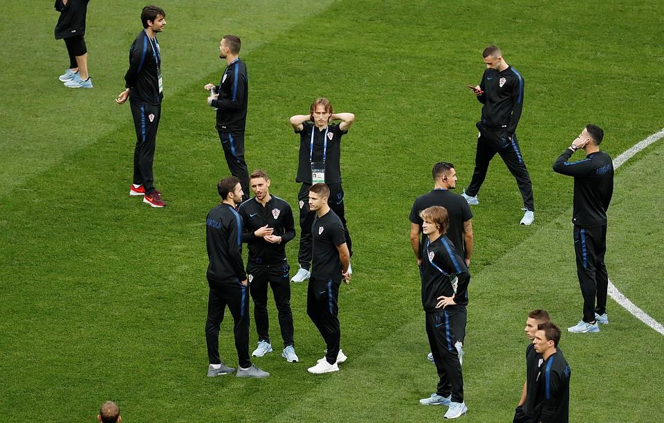 Футболисты сборной Хорватии в Москве на стадионе