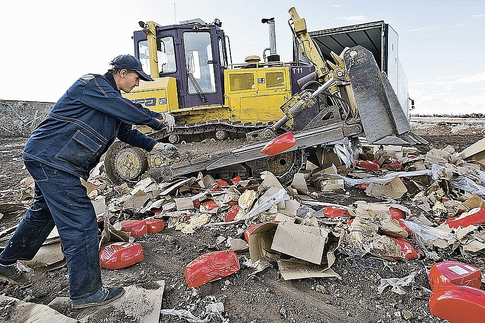 Стали известны объемы уничтоженных затри года санкционных продуктов