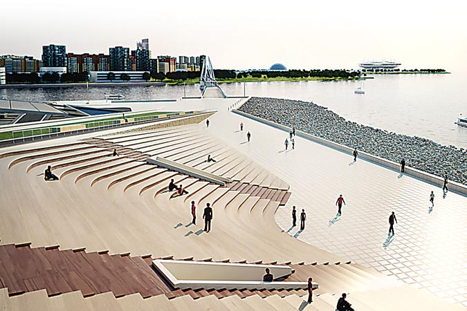 Амфитеатр позволит наслаждаться различными водными соревнованиями и праздниками