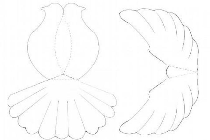 Шаблон как сделать голубя из бумаги своими руками