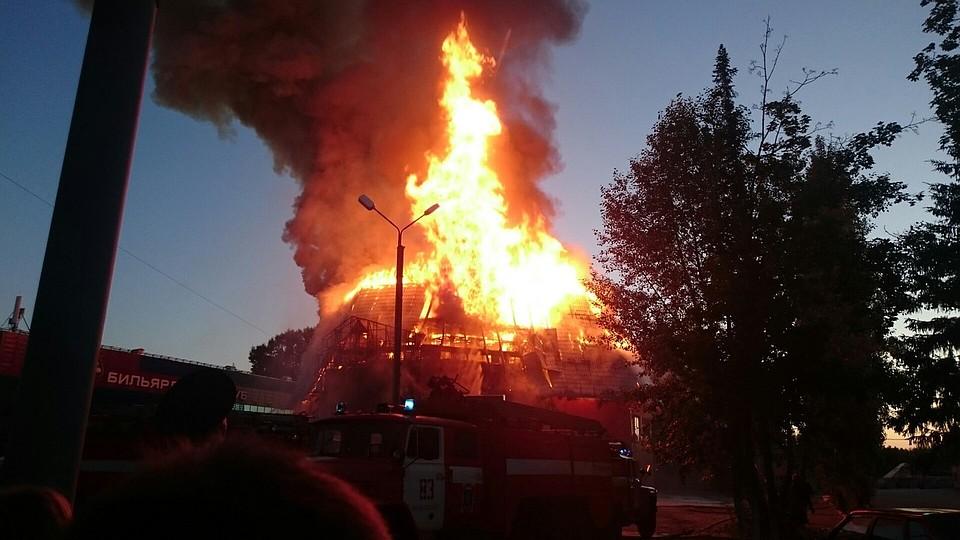 ВНефтекамске сгорел развлекательный комплекс «Бутлер»