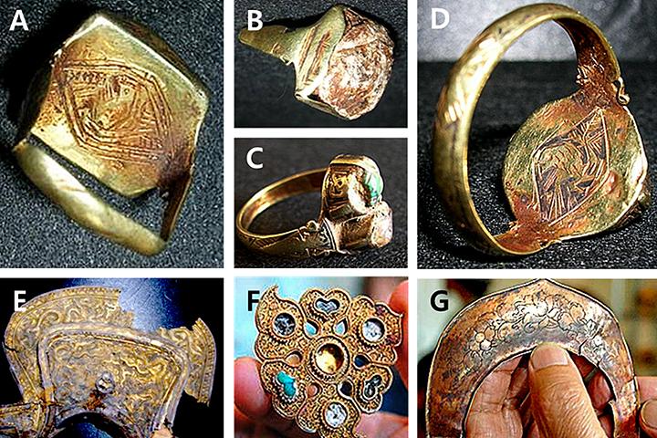 Гравировка сокола на золотых украшения - символ принадлежности к клану Борджигинов, к которому относился и сам Чингисхан.