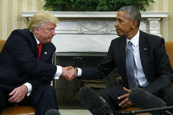 45-й президент США Дональд Трамп и 44-й президент США Барак Обама