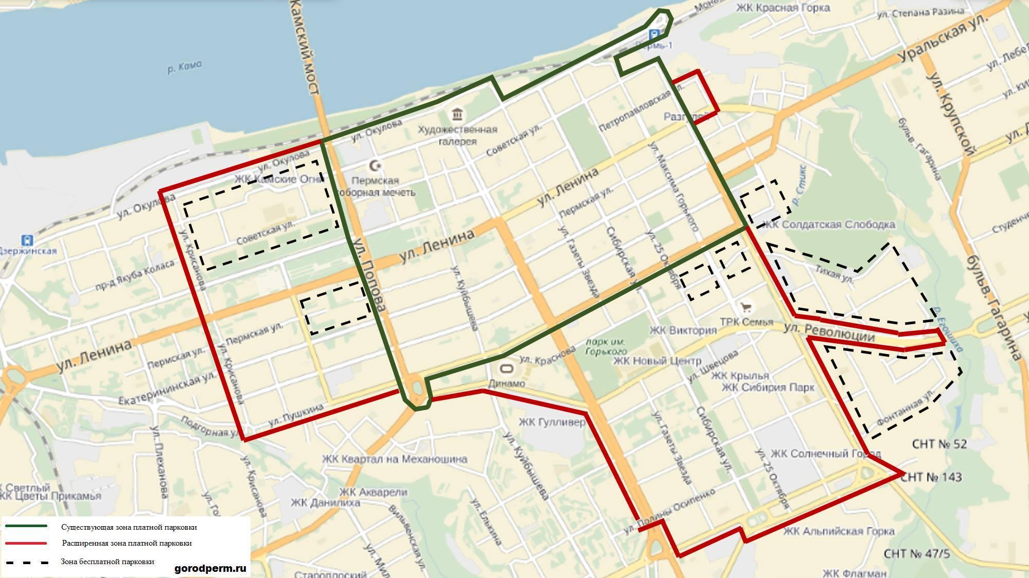 Возникла карта расширенной зоны платных парковок вПерми