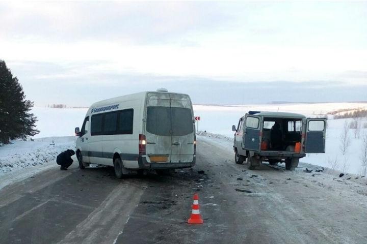 ВБашкирии натрассе столкнулись микроавтобус спассажирами илегковой автомобиль
