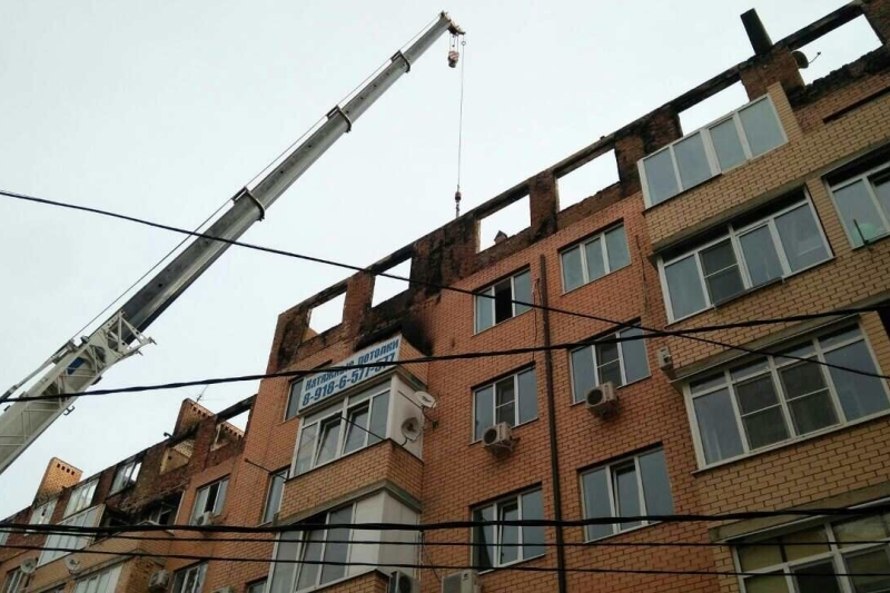 ВКраснодаре начался ремонт всгоревшем самострое наПрокофьева