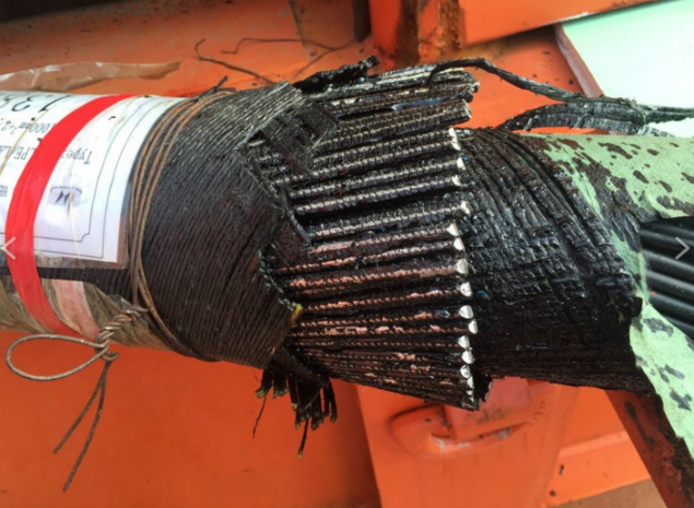 Толстый бронированный силовой кабель энергомоста.