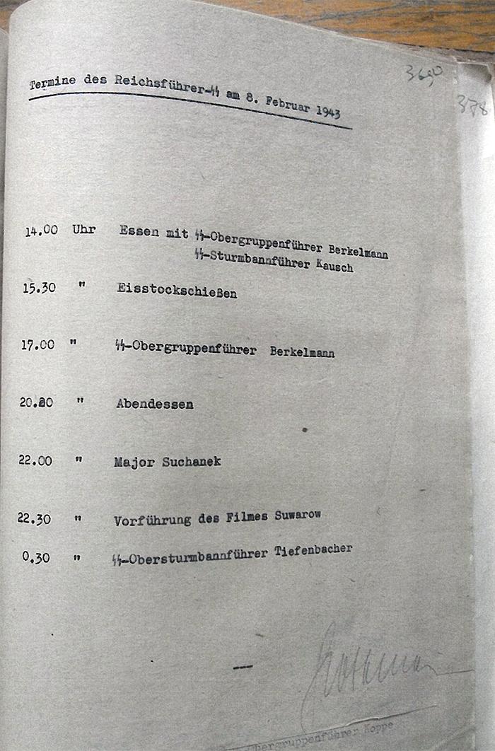 """Страница дневника за 8 февраля 1943. В 22.30 смотрел фильм """"Александр Суворов"""""""