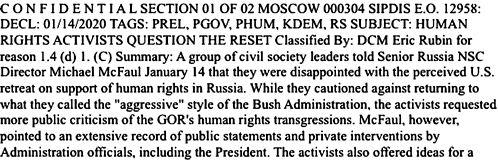 Вот в таких конфиденциальных посланиях посол США в Москве Джон Байерли описывал встречи с российскими оппозиционерами.