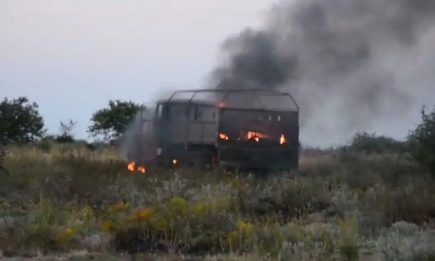Уничтоженный украинским спецназом КамАЗ ополченцев