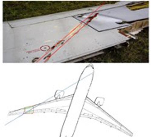Обломок левого крыла и направление атаки на самолёт по мнению РСИ.