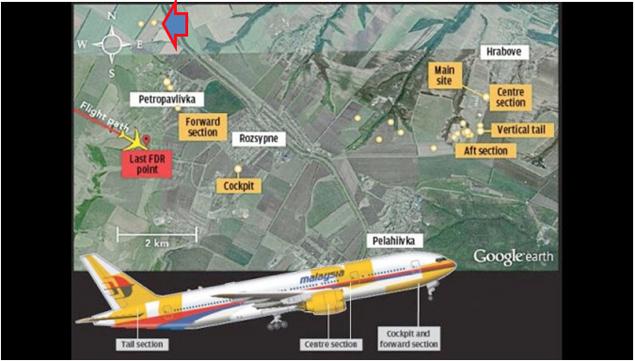 Схема расположения обломков на земле. Красная метка показывает координаты последней точки штатного полета. Желтыми точками показаны места обломков на земле.