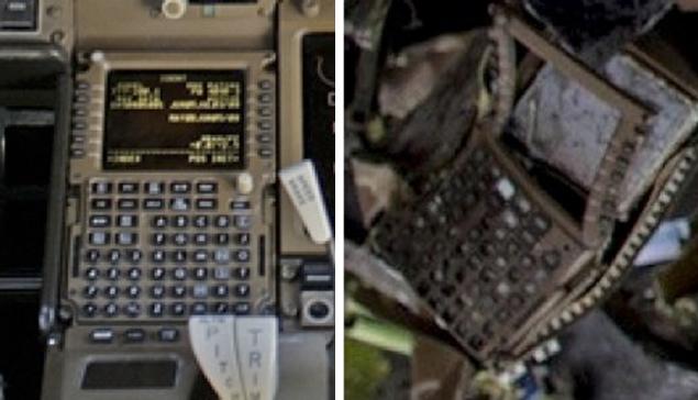 Панель в кабине пилотов и состояние той же панели с места падения.