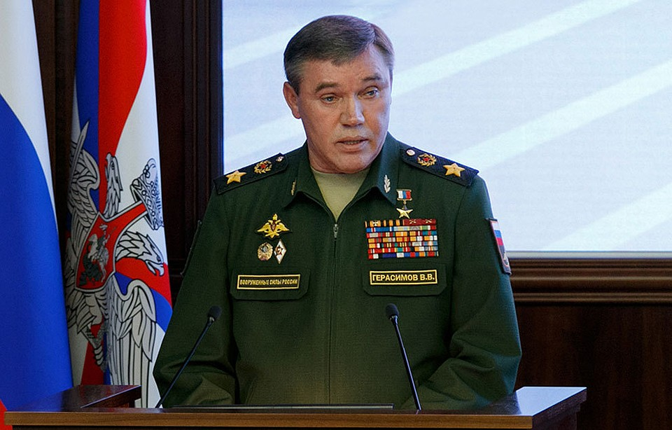 Начальник Генштаба России Валерий Герасимов выступает на коллегии Министерства обороны 7 ноября 2017 года.