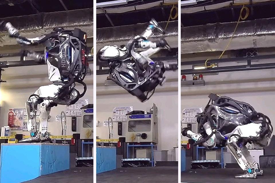 Специалисты Boston Dynamics обучили роботов делать сальто назад.
