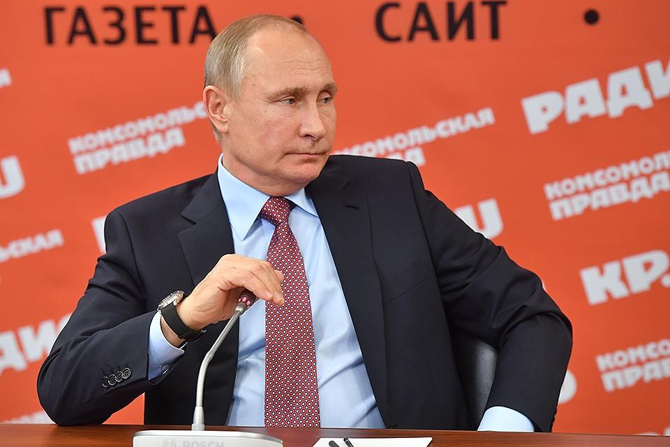 """Владимир Путин в редакции """"Комсомольской правды""""."""