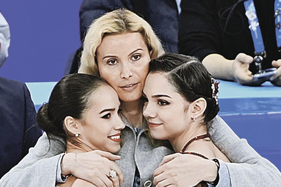 Олимпиада-2018. Этери Тутберидзе и ее воспитанницы - Алина Загитова и Евгения Медведева, выигравшие «золото» и «серебро».