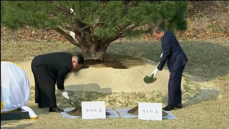 """Ким Чен Ын и Мун Чже Ин сажают """"дерево дружбы"""" в приграничном Пханмунджоме"""