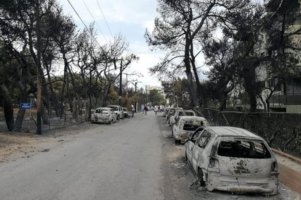 Сильнее всего от пожаров пострадал поселок Мати, расположенный в Восточной Аттике