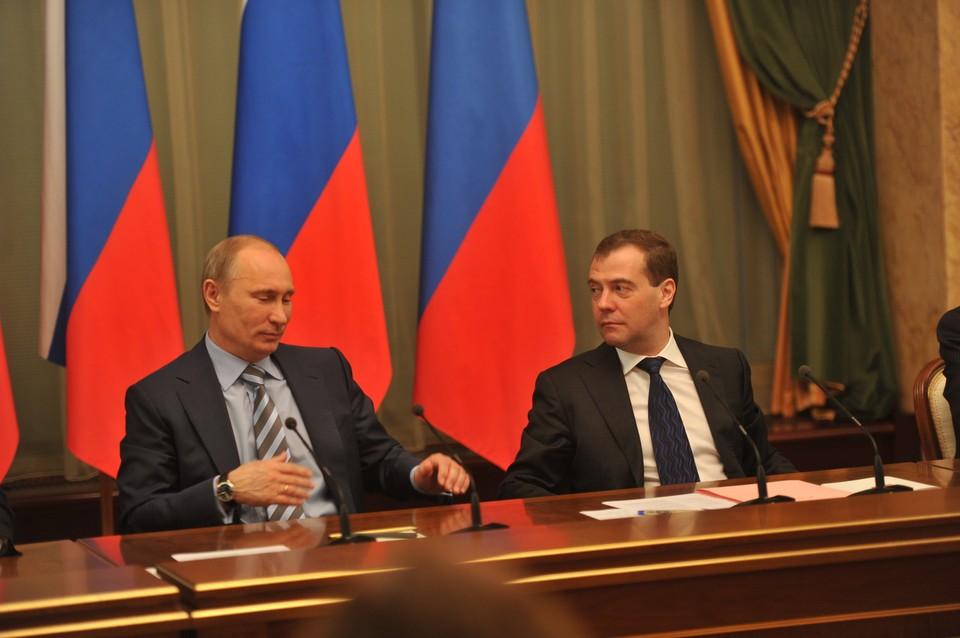 Президент РФ Владимир Путин и премьер-министр страны Дмитрий Медведев