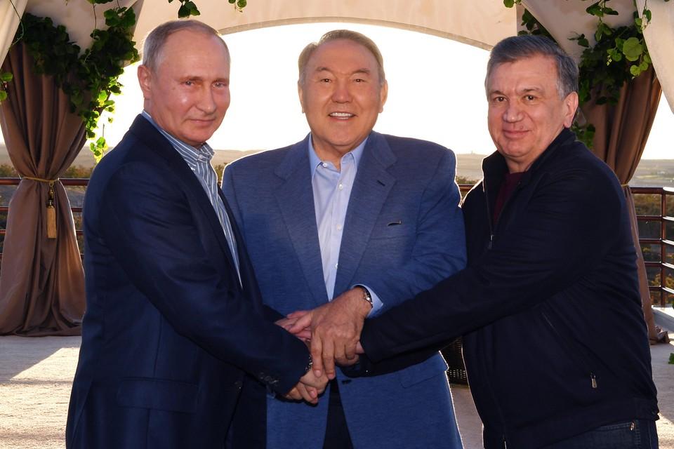 Владимир Путин, Нурсултан Назарбаев и Шавкат Мирзиёев. Фото: пресс-служба президента Казахстана