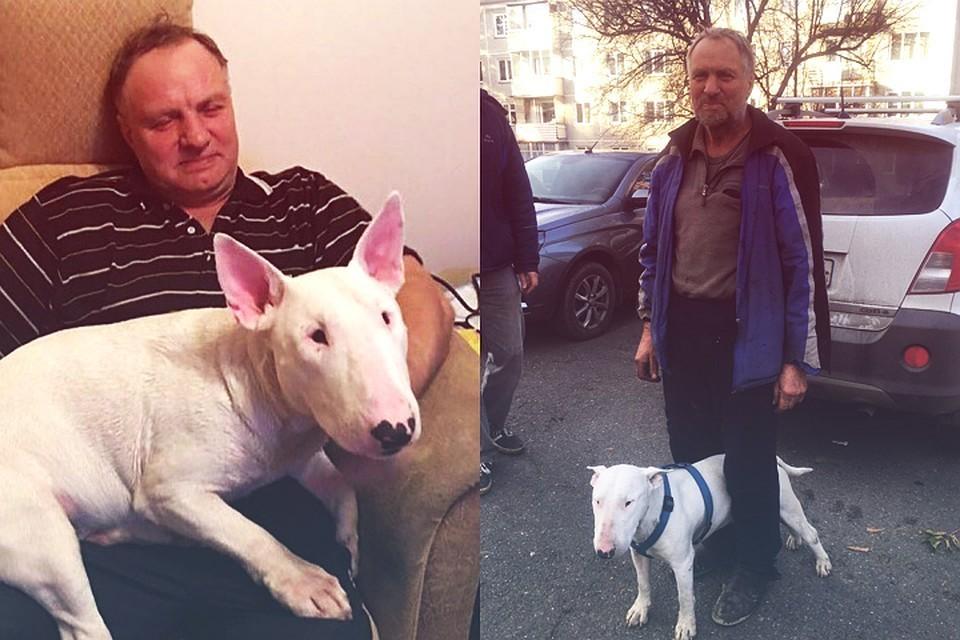 Виктор с Тором незадолго до исчезновения (слева)... и спустя три недели после блуждания по тайге (справа) Фото: из семейного архива