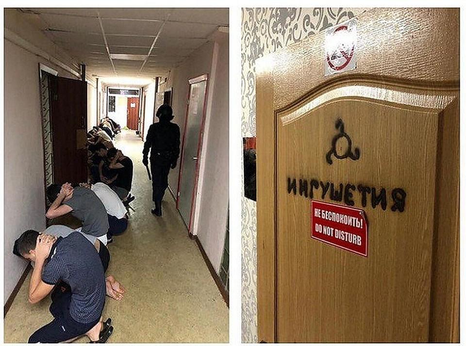 Коридор в общежитии. Дверь, ведущая в одну из местных «квартир» - прямо по дереву выжжено слово «Ингушетия»