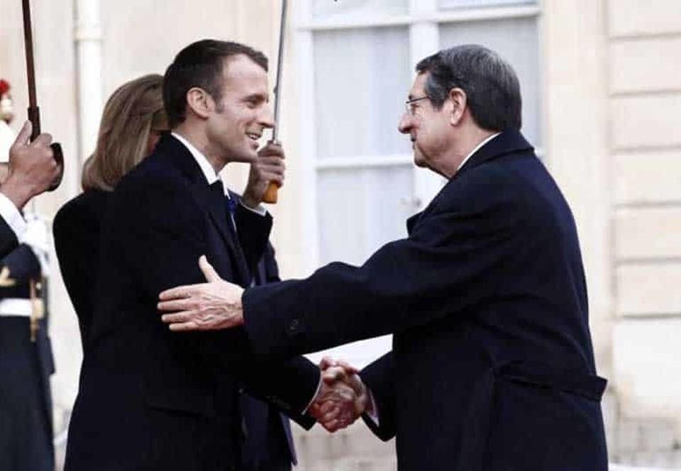 Президенты Кипра и Франции Никос Анастасиадис и Эмануэль Макрон