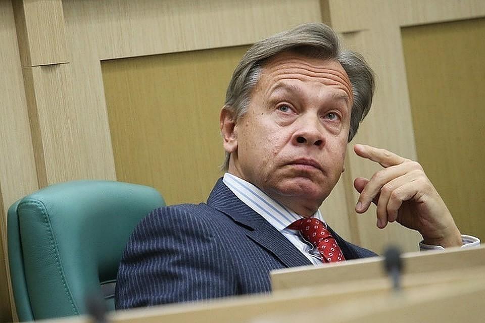 Глава комиссии Совета Федерации по информационной политике Алексей Пушков. Фото: Антон Новодережкин/ТАСС