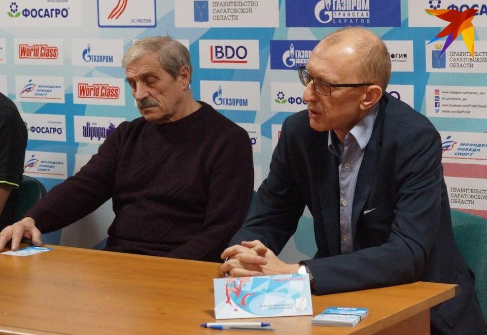 Глава региональной федерации волейбола Анатолий Годаль и менеджер клуба Андрей Афиногенов