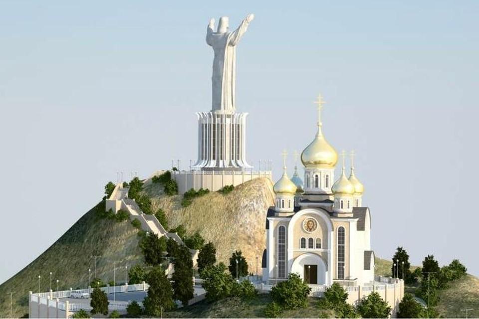 Так, по замыслу проектировщиков, будут выглядеть статуя и храм. Фото: vposad.ru