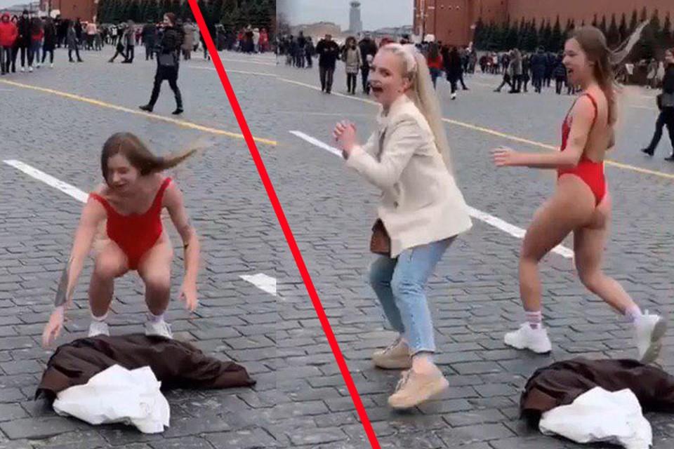 Девушки благополучно покинули площадку для своего пари