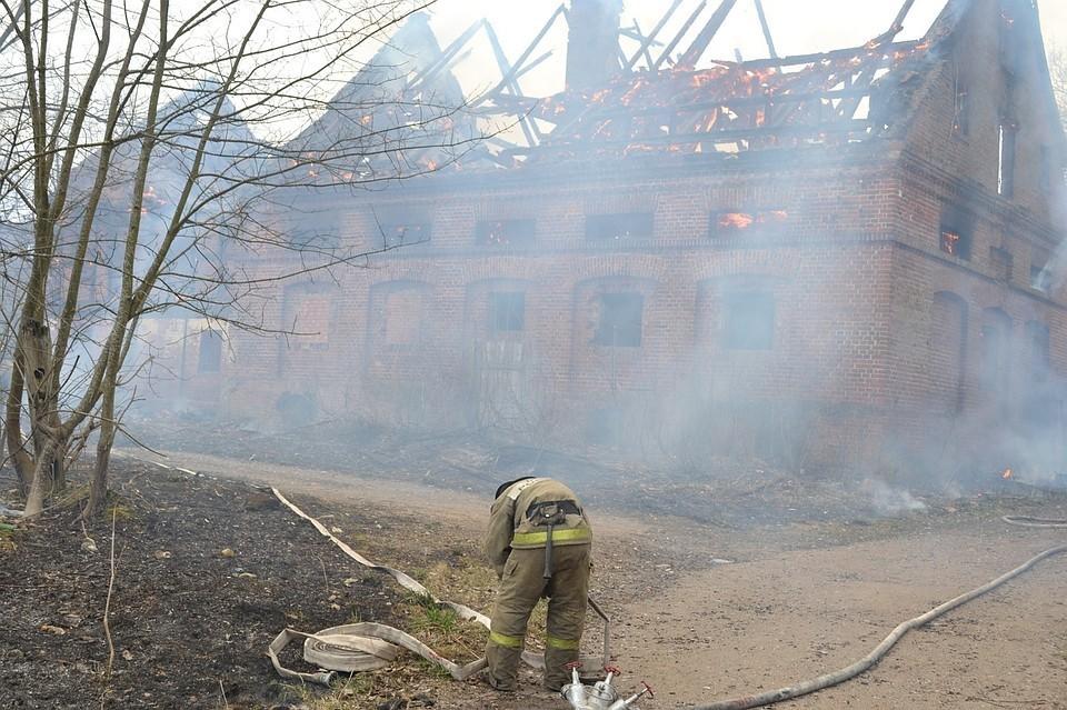 Пожар на усадьбе Альтхоф-Рагнит, апрель 2019 года.