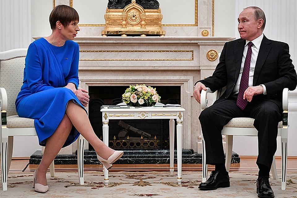 Глава Эстонии Керсти Кальюлайд на встрече с президентом России Владимиром Путиным в Москве