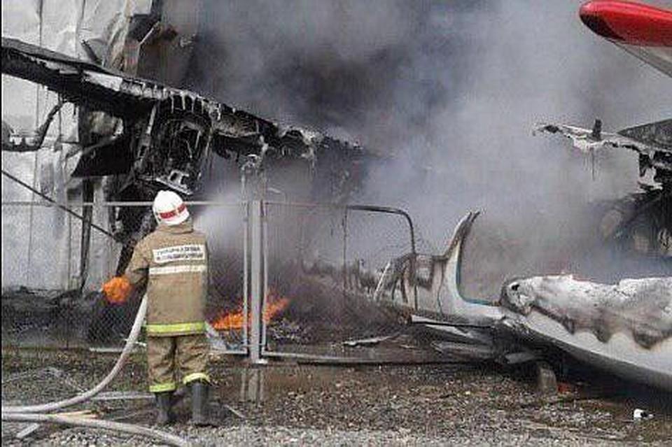 Авария самолета Ан-2 в Нижнеангарске. Фото: срин с видео