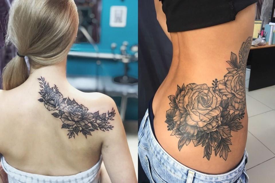 Самые популярные тату – черно-белые розы, пионы и лотосы.