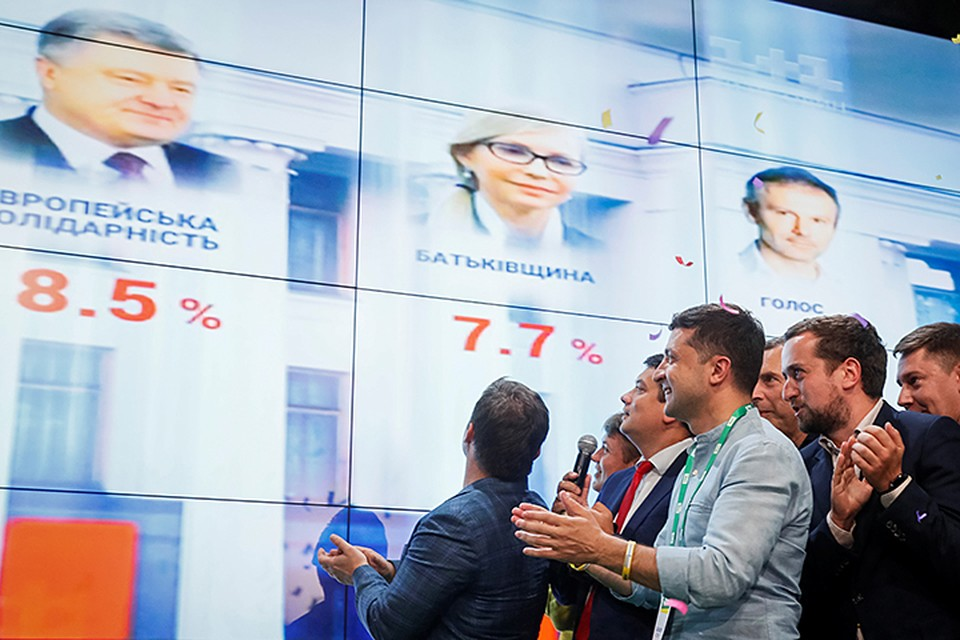 """Большинство в Верховной раде Украины получила партия Зеленского """"Слуга народа"""""""