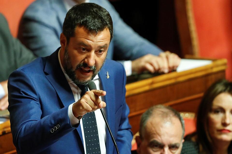 Маттео Сальвини во время выступления в Сенате Италии.