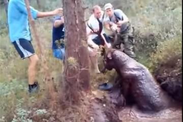 В Волковыске пять охотников вытащили оленя из болота за рога