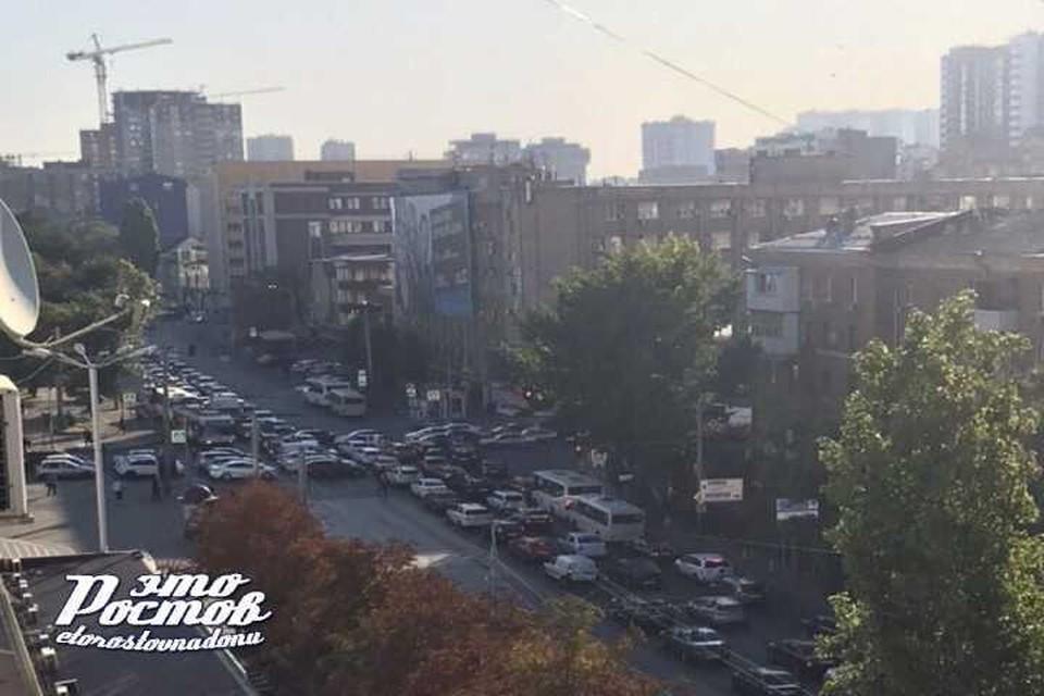 Движение в центре Ростова затруднено. Автор: соцсети
