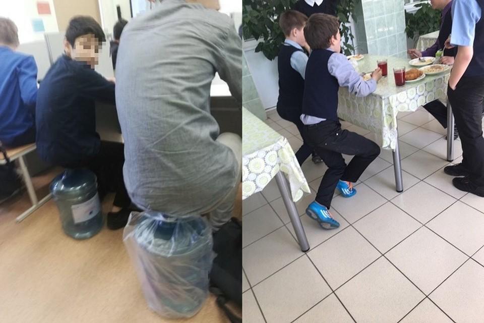 """Из-за нехватки стульев школьникам приходится сидеть на бутылках и стоять в столовой. Фото: """"ЧС54 Новосибирск"""""""
