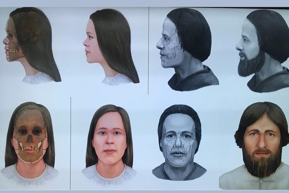 Реконструкция портретов жителей Тулы - мужчины и женщины 16 века. Фото предоставлено А. Энговатовой, РАН