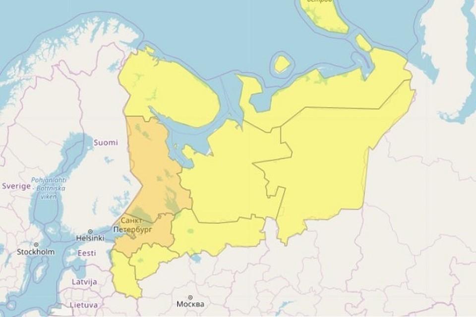 Гидрометцентр поднял уровень погодной опасности до оранжевого. Фото: meteoinfo.ru