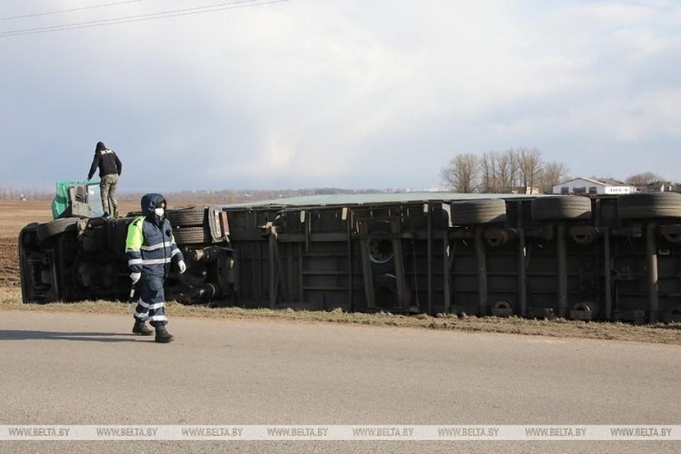 В Витебском районе на трассе перевернулась фура. Фото: belta.by.