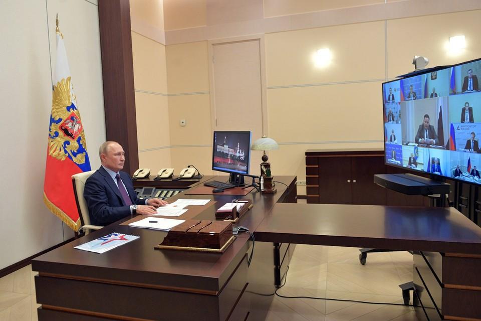 Президент России Владимир Путин 6 мая 2020 года в режиме видеоконференции проводит совещание по санитарно-эпидемиологической ситуации