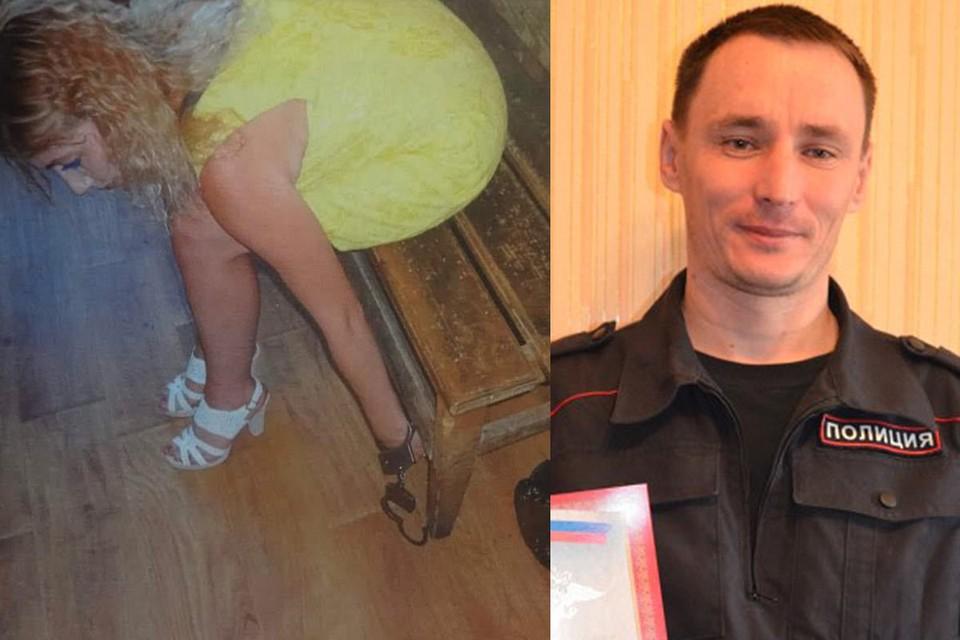 Марина показывает на следственном эксперименте как ее приковывали наручниками. Справа на фото - обвиняемый полицейский Александр Корбут.