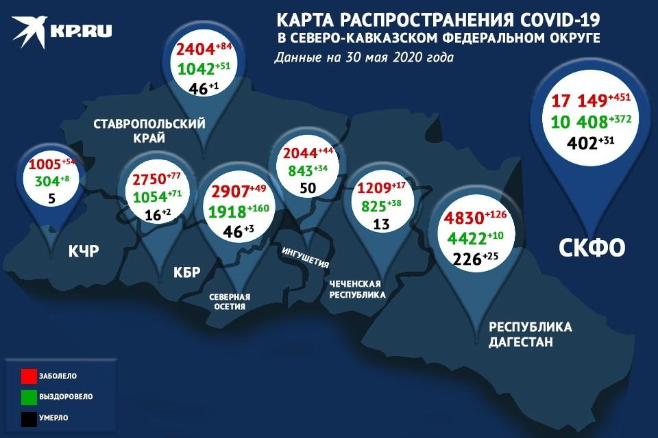 Коронавирус на Северном Кавказе диагностирован у 451 пациента